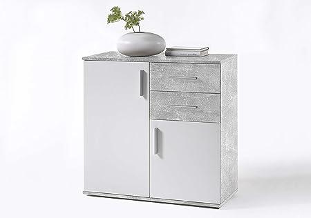 BEA Com/ò in Legno Laminato e Bianco 80x82x35 cm, Grigio-Bianco AVANTI TRENDSTORE Disponibile in 2 Diversi Colori e Dimensioni