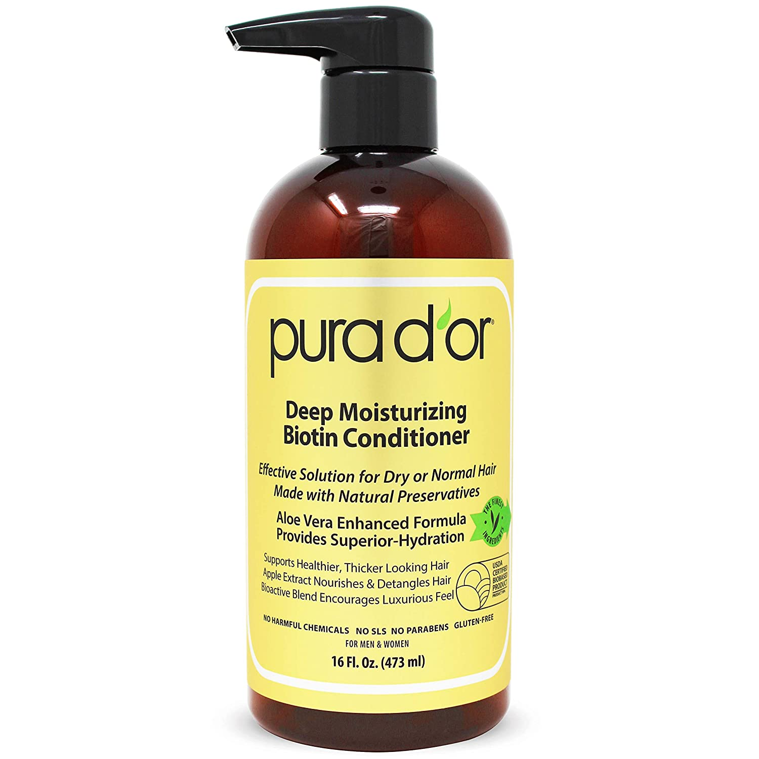 PURA D'OR Deep Moisturizing Conditioner Softens, Smooths, & moisturizes - for Dry, Frizzy, Damaged Hair - Made With Argan Oil & Natural Ingredients, Men & Women, 16 Fl Oz (Packaging May Vary)