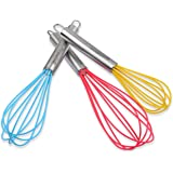 Silicone Whisk Set with Stainless Steel Handles - Set of 3 - Large Red, Medium Blue, Small Mini Yellow