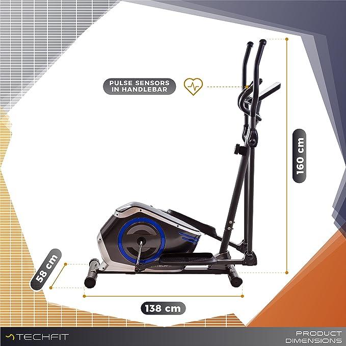 TechFit E410 Cross Trainer, Bicicleta elíptica para el hogar, Máquina de Cardio para Ejercicios de Fitness, Dispositivo de Resistencia magnética Apta para ...