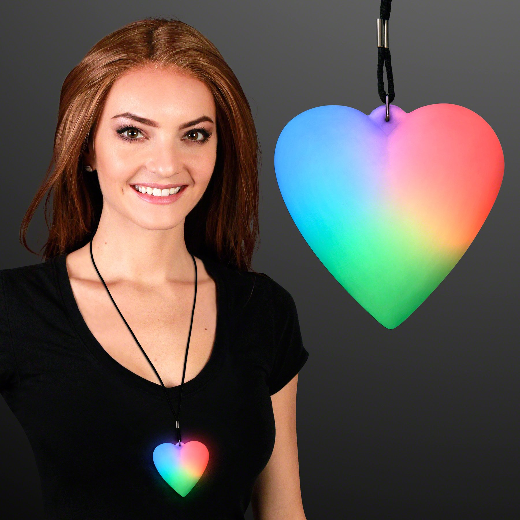 FlashingBlinkyLights Color Change LED Heart Light Up Necklace (Set of 12)
