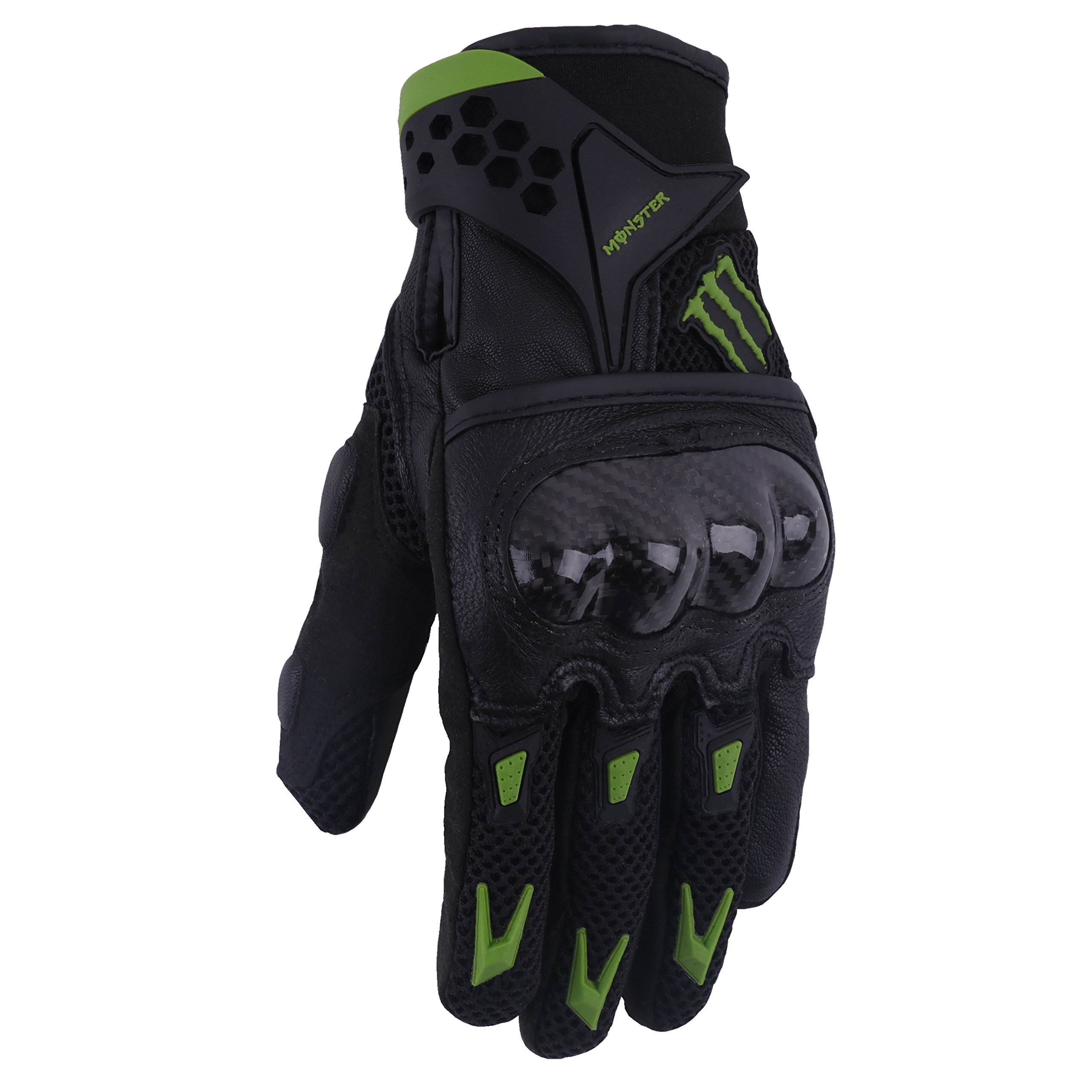 A Pair of Pro-Biker Carbon Fiber Leather Bicycle Motorcycle Motorbike Powersports Racing Gloves (L, Green)