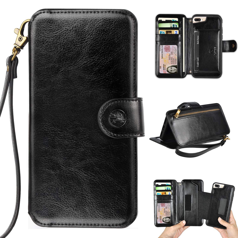 online store f6fe9 35a56 Humble Wallet Case Clutch Compatible with iPhone 8 Plus 7 Plus 6 Plus -  Wristlet Case Boutique Quality Vegan Leather Black - with Card Holder  Clutch ...