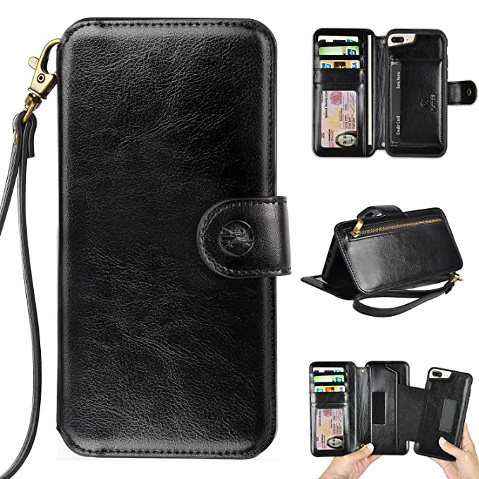 online store 2efb5 4ffe8 Humble Wallet Case Clutch Compatible with iPhone 8 Plus 7 Plus 6 Plus -  Wristlet Case Boutique Quality Vegan Leather Black - with Card Holder  Clutch ...
