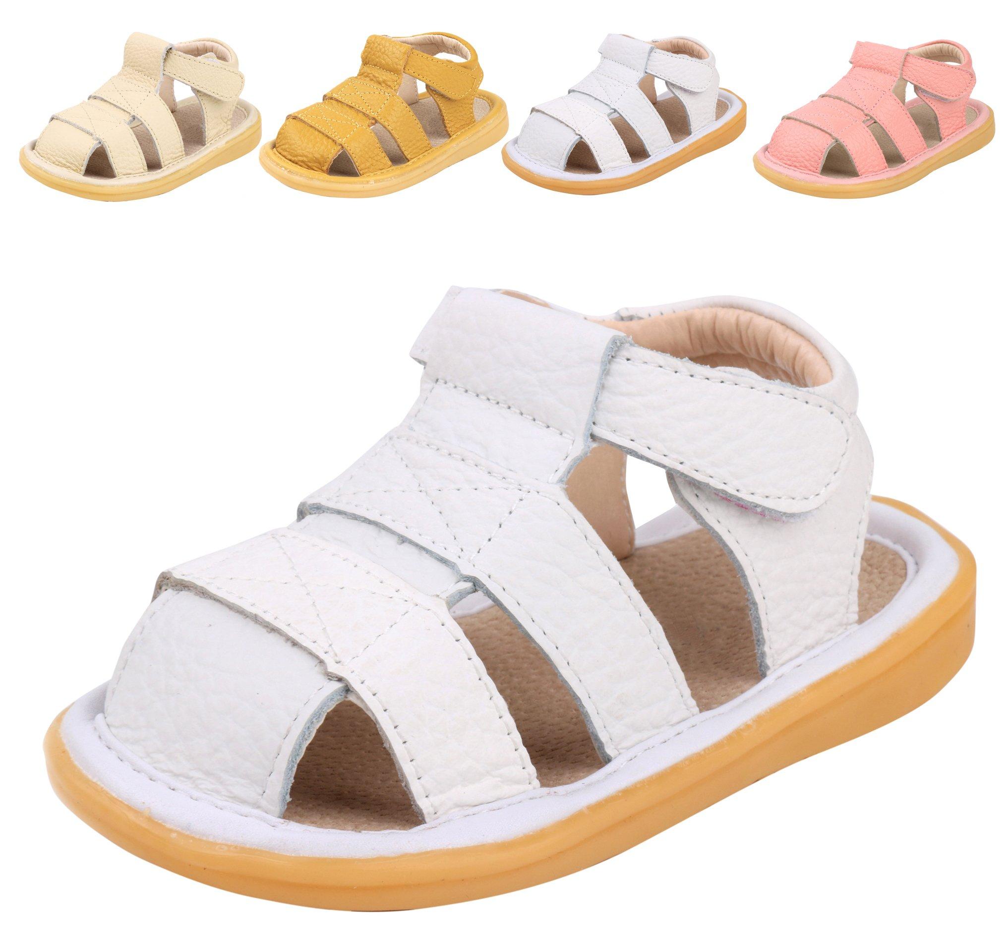 LONSOEN Toddler Boy Girl Summer Outdoor Closed-Toe Leather Sandals(Infant/Toddler),White KSD002 CN16