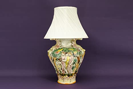 Rustico vintage capodimonte lamp figure retro rosa ceramica grande