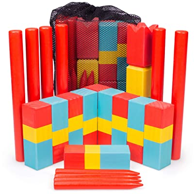 Kubb for Kids | Safe Wooden Lawn Game for Kids | Unique, Traditional Family Game | Premium Wooden Tossing Game Set for Outdoor Birthday Party & Yard Activities | Includes Free Portable Mesh Carry Bag: Toys & Games