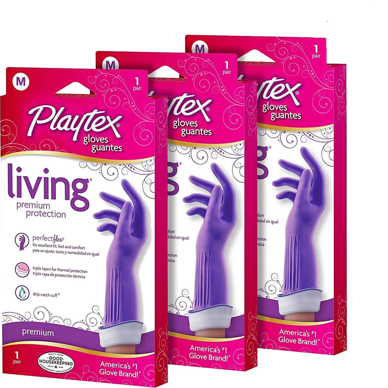 Pack of 4 Medium Playtex Living Reuseable Rubber Cleaning Gloves