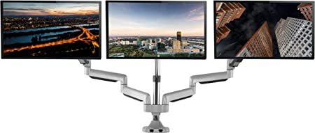 """TechOrbits Three Monitor Stand Mount - SmartSWIVEL - Triple Computer Screen Desk Mount Arms - Full Motion Swivel Articulating Gas Springs - Universal Fit for 13"""" - 30"""" Screens Vesa Mount"""