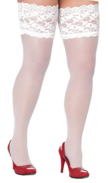Plus Size White Bridal Stay Up Thigh Highs with Wide Lace Band 3xl-5xl