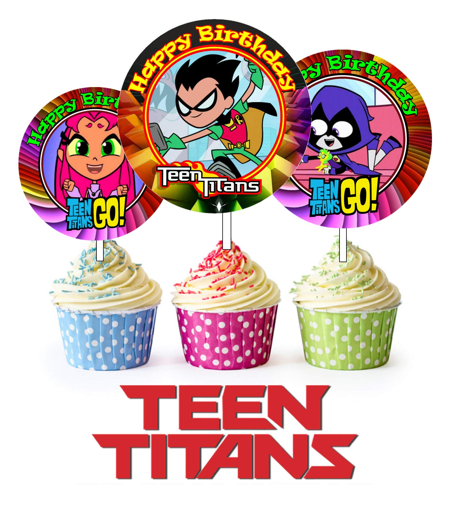 Crafting Mania LLC. 12 TEEN TITANS Birthday Inspired Party Picks, Cupcake Picks, Cupcake Toppers #1
