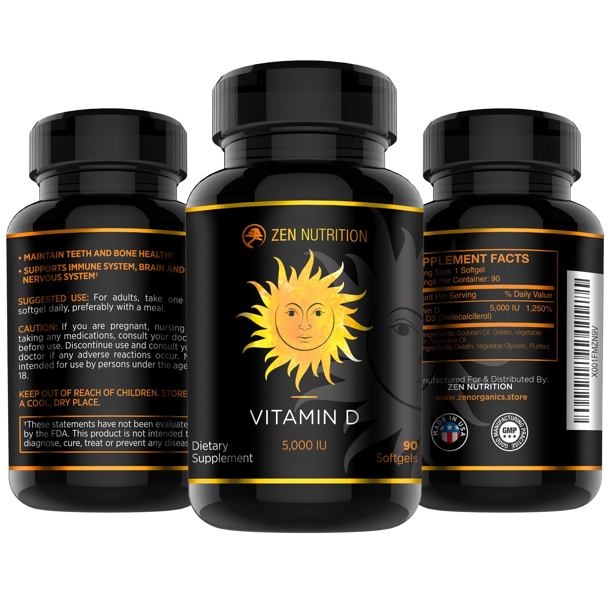 Vitamin D3 Supplement | The Sunshine Vitamin - 5000 IU For Stong Bones, Healty Heart and Immune System | 90 High Potency Softgels By Zen Nutrition