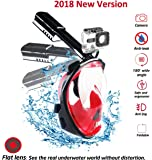 Leonition Full Face Snorkel Mask, 2018 Foldable Snorkeling Mask Full Face with GoPro Mount 180 Panoramic Seaview, Flat Lens Anti-Fog & Anti-Leak for Adults
