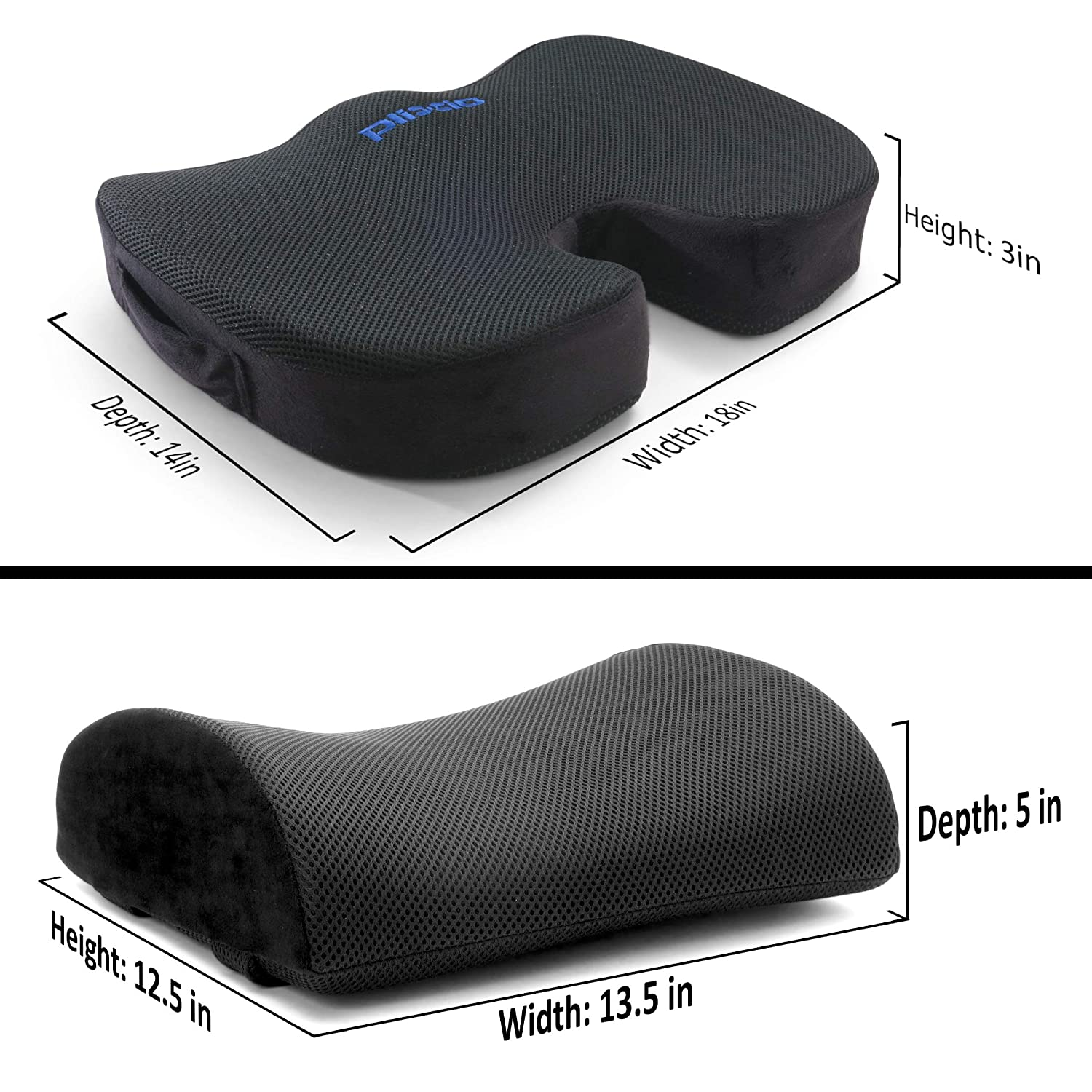 Orthopedic Chair Pad for Support in Office Desk Chair and Car Seat Coccyx Plixio Memory Foam Seat Cushion and Lumbar Back Support Pillow- Chair Pillow for Sciatica Back /& Tailbone Pain Relief