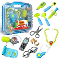 Durable Kids Doctor Kit with Electronic Stethoscope and 12 Medical Doctor's Equipment...