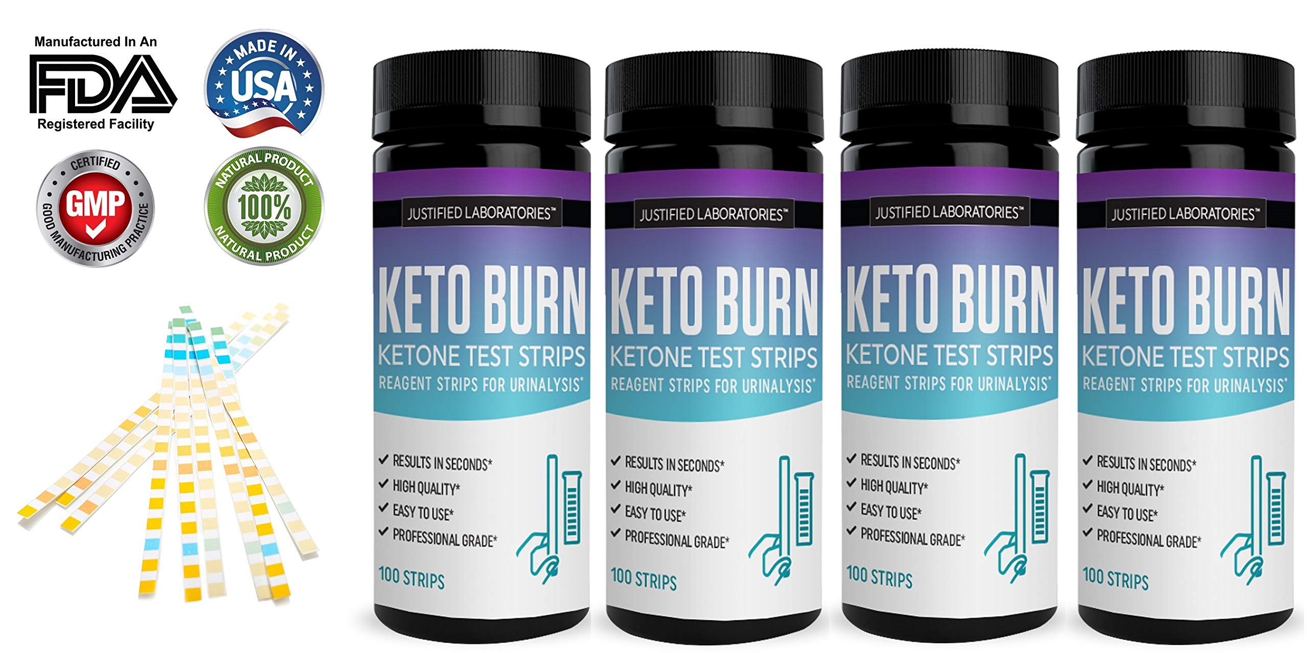 Keto Test Strips Testing Ketosis Levels on Low Carb Ketogenic Diet 100 Urinalysis Tester Strips Accurate Meter Measurement of Urine Ketones Test 4 Bottles by Justified Laboratories