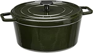 AmazonBasics Premium Enameled Cast Iron Dutch Oven, 5-Quart, Deep Hunter Green