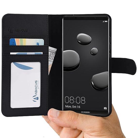 Mate 10 Pro Hülle [Schwarz] Tasche kompatibel mit Huawei Mate 10 Pro Brieftasche [Abacus24-7] Handy-hülle/Leder-Tasche mit St