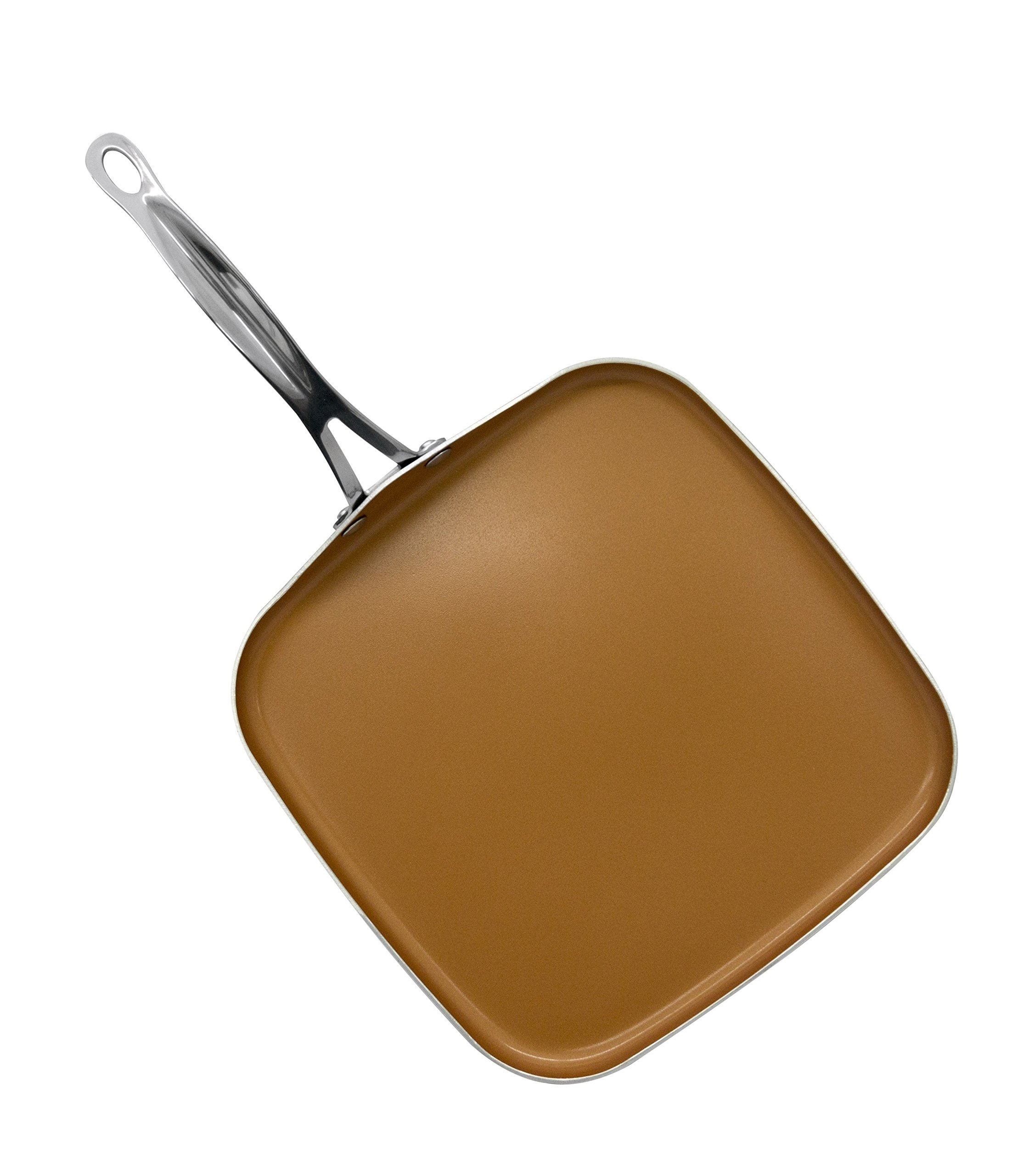 Gotham Steel Copper Non-Stick 10.5'' Square Griddle Pan– Perfect for Omelets, Pancakes and more. Nonstick Copper, Dishwasher Safe with Stainless Handle
