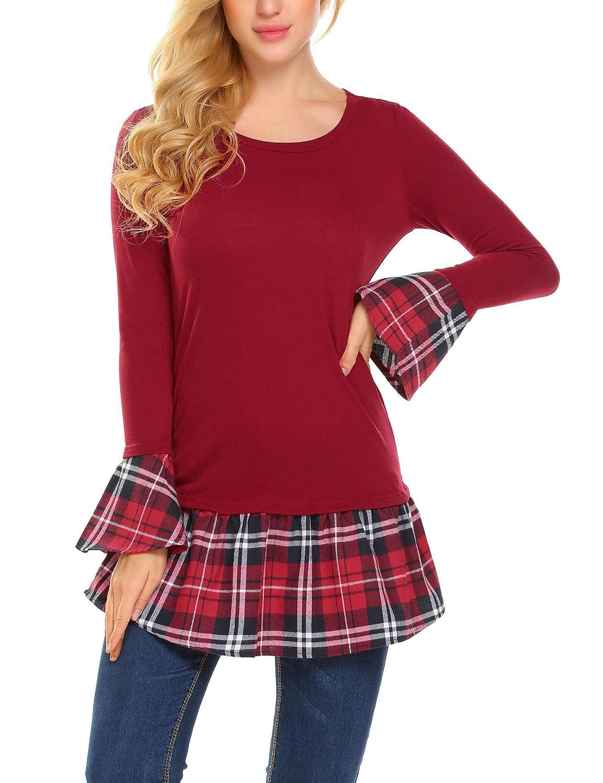 Meaneor Women Trendy Long Sleeve Blouse Polka Dot Chiffon Splice Tunic Tops