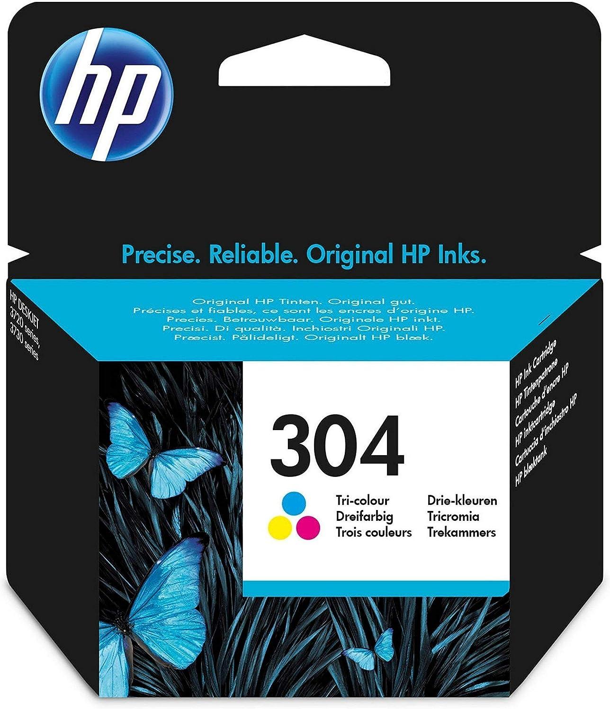 HP 304 N9K05AE, Cartucho de Tinta Original, compatible con impresoras de inyección de tinta HP DeskJet 2620, 2630, 3720, 3730, 3750, 3760, HP Envy 5010, 5020, 5030, Tricolor