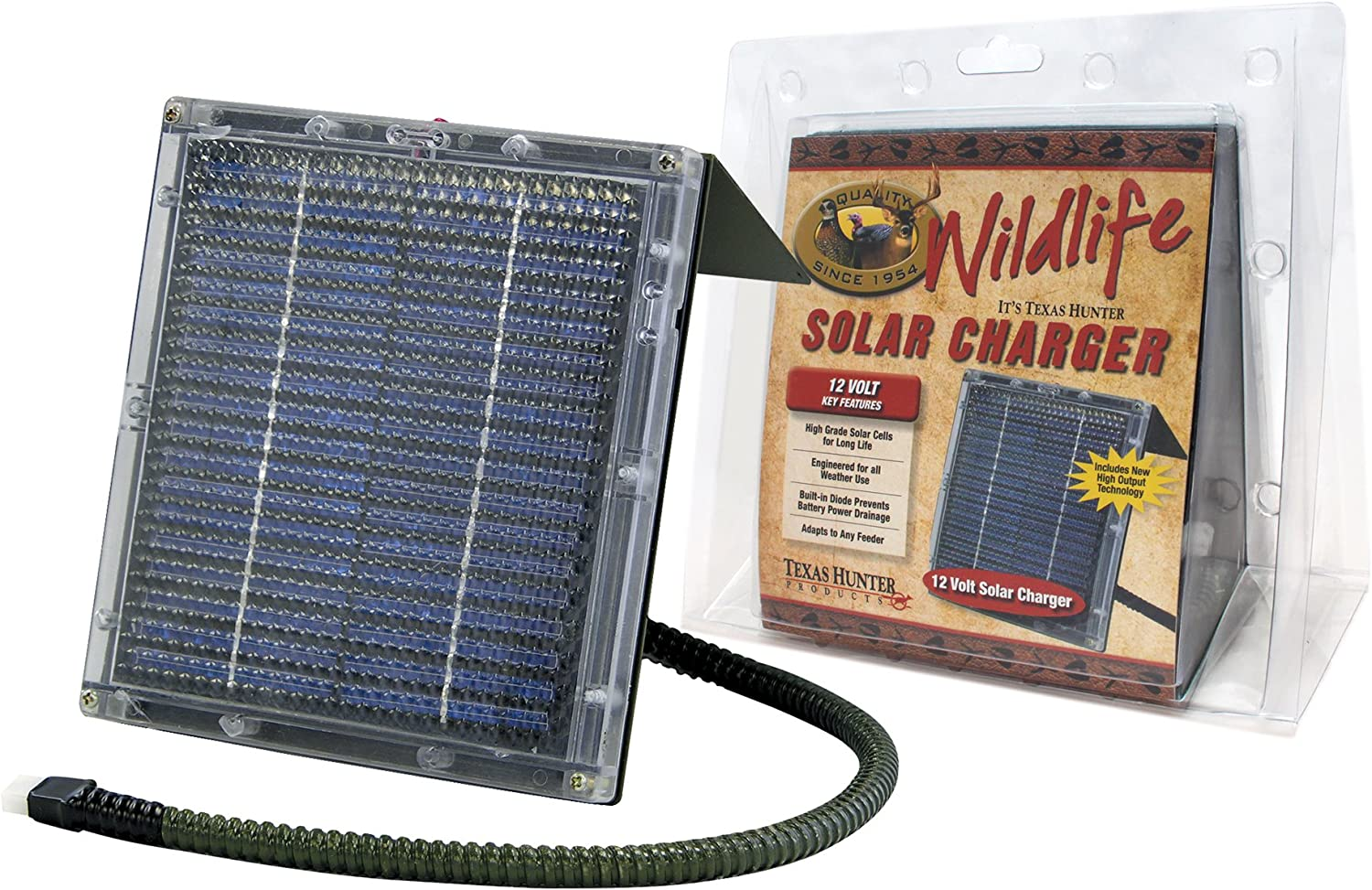 Amazon Com Texas Hunter Products 12 Volt Solar Charger For Wildlife Feeders Model Sp12c Sports Outdoors
