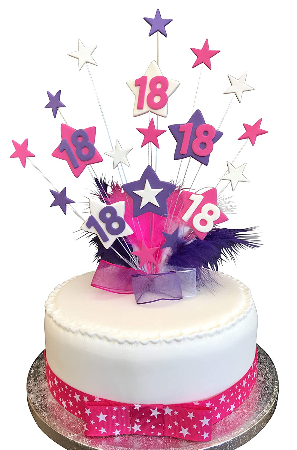 Cool 18Th Hot Pink Purple White Star Birthday Cake Topper With Funny Birthday Cards Online Overcheapnameinfo