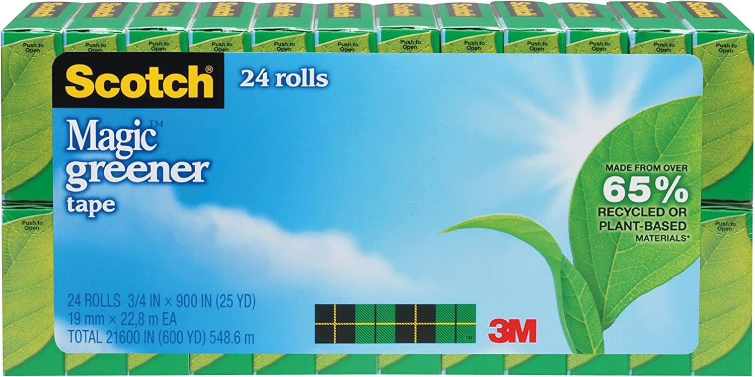 Scotch Magic Greener Tape, 3/4 x 900 Inches, Boxed, 24 Rolls (812-24P), Matte Clear