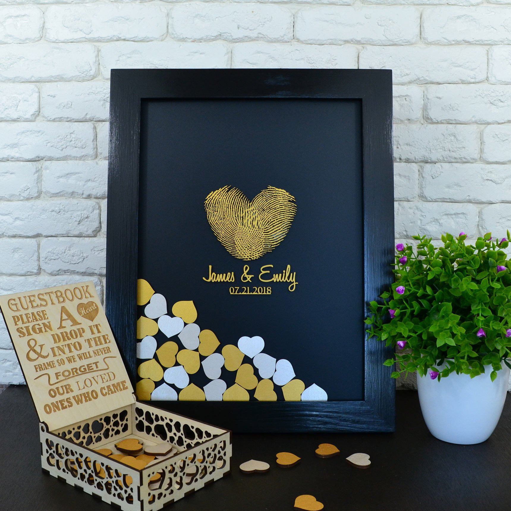 PotteLove Guest Book Alternative Fingerprint Guestbook Wood Drop Box Wood Hearts Wedding Decor Wood Frame Wedding Book Alternative