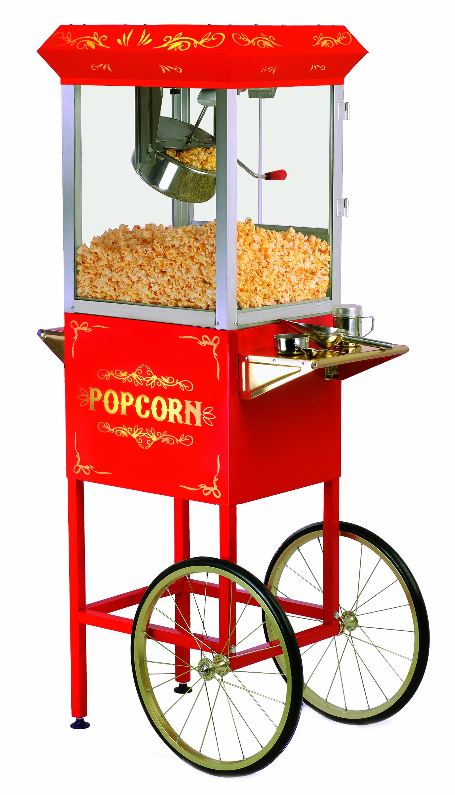 Elite Deluxe EPM-400 Maxi-Matic 8 Ounce Old-Fashioned Popcorn Popper Machine with Trolley, Red