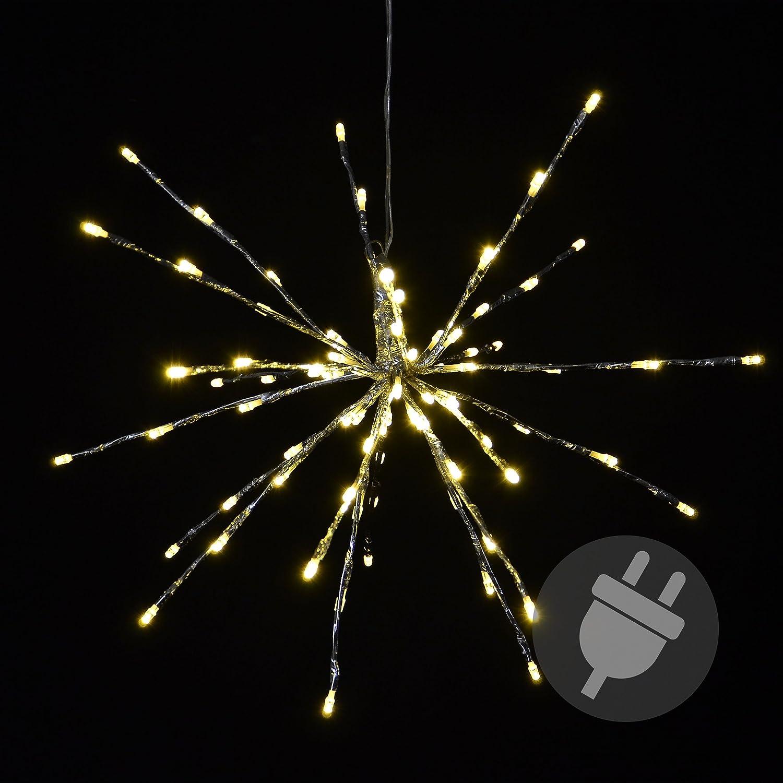 Nipach GmbH 80 LED Meteor Stern Leuchtfarbe warm weiß Ø 40 cm für Innen und Außen mit Trafo Weihnachtsstern zum Aufhängen Dekostern Weihnachtsdeko