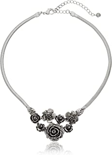 "product image for 1928 Jewelry Silver-Tone Flower Bib Necklace, 16"" + 3"" Extender"