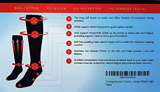 b717828318f Amazon.com  MICODEMA Compression Socks Wide Calf - for Thick Calves with  Ankle and Arch Support