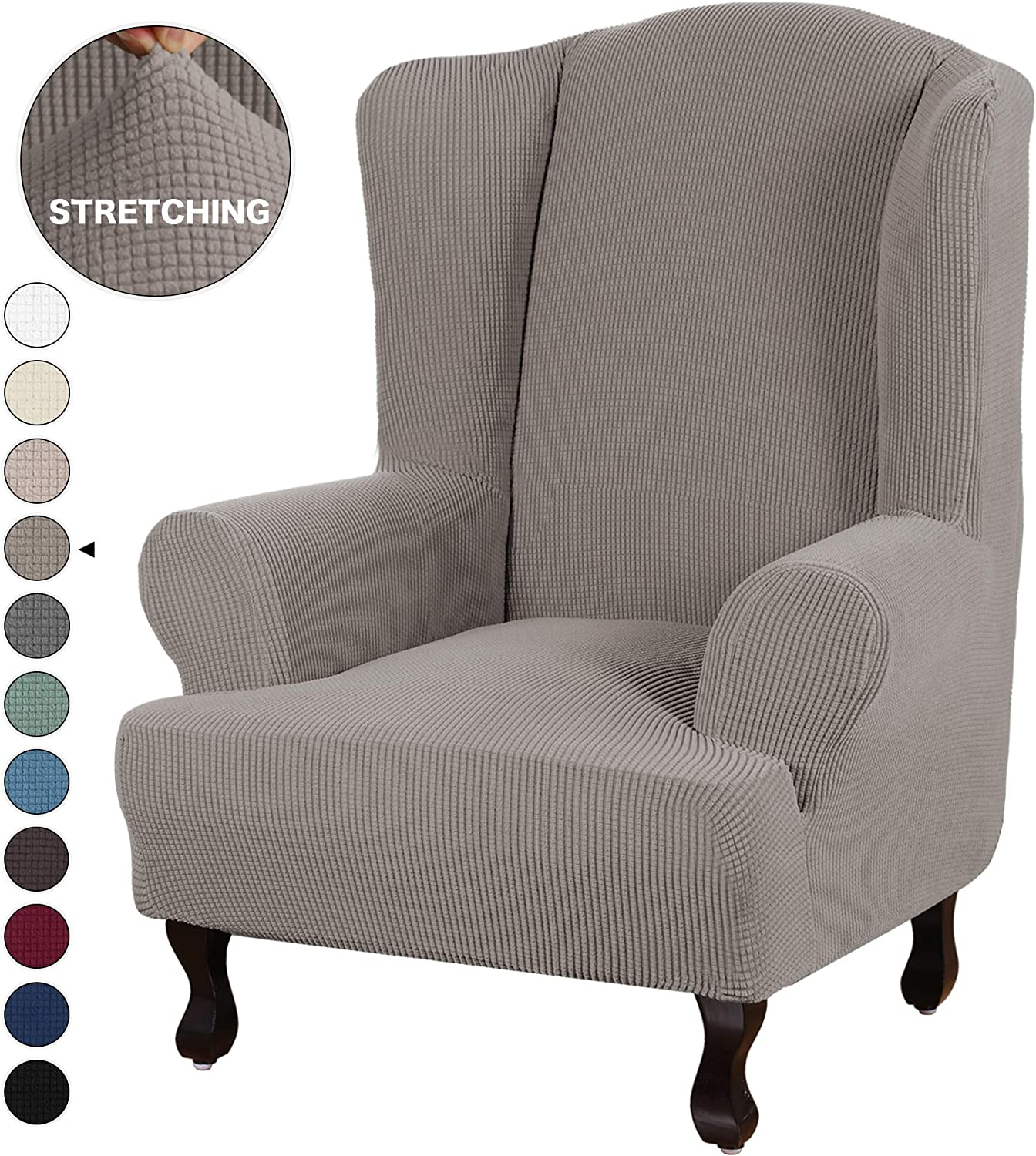 Turquoize Stretch Wing Chair Slipcover Wingback Armchair Chair Slipcovers Sofa Covers 1-Piece Spandex Fabric Wing Back Wingback Armchair Chair Slipcovers(Wing Chair, Taupe)