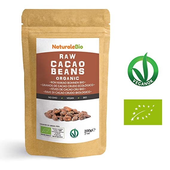 Granos de Cacao Crudo Ecológico 200g | 100% Bio, Natural y Puro | Cultivado