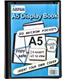 Display book - 24 Pockets Black Presentation A5 Display Book Folder Folio for Professionals, Business, Students, Projects, School, College & Personal use by Arpan