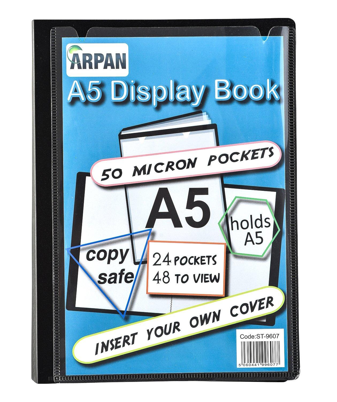 Portalistino 24buste, colore nero, formato A5di presentazione cartella Folio per professionisti, affari, studenti, progetti, scuola e uso personale by Arpan A5 Black