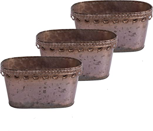 20 cm Juego de 3 Hogar y decoraci/ón Juego de 3 maceteros antiguos Flower Bowl 20 cm o solo 29cm Maceta Oval Plant Pot Metal Metalera Jardinera Acabado de plomo