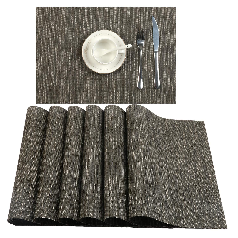 U'Artlines Placemat, Crossweave Woven Vinyl Non-Slip Insulation Placemat Washable Table Mats Set (6pcs placemats, B Coffee)