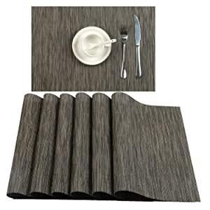 U'Artlines Placemat, Crossweave Woven Vinyl Non-Slip Insulation Placemat Washable Table Mats Set (6pcs placemats, B Coffee)