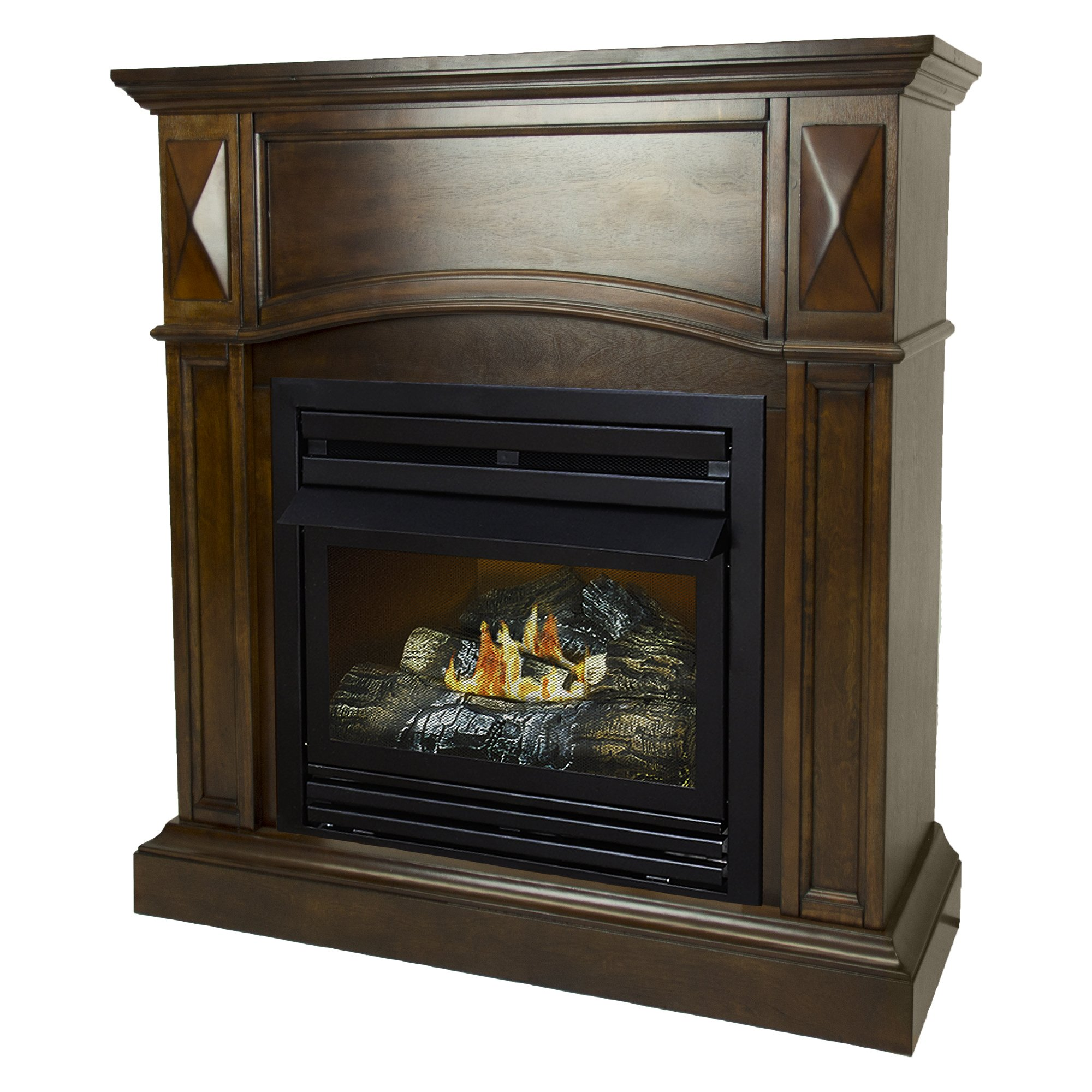 Pleasant Hearth 36 Compact Natural Gas Vent Free Fireplace System 20,000 BTU, Rich Cherry by Pleasant Hearth