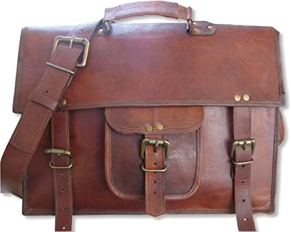 New Men/'s Genuine Vintage Brown Leather Messenger Shoulder Laptop computer Bag