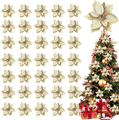 Glitter Pine Trees Gold Silver Party Picks Set of 6 Christmas Collection ..