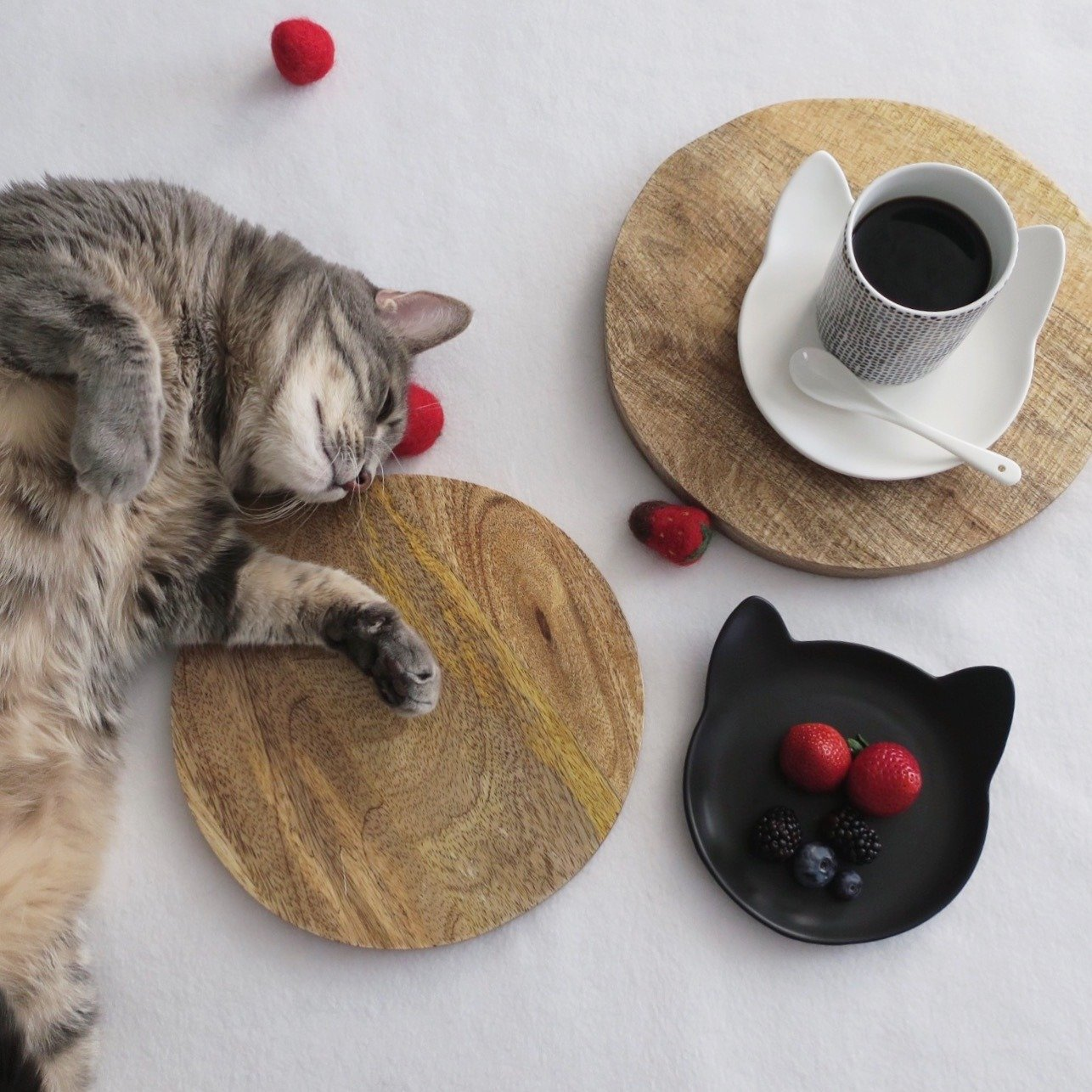 2 Ceramic Hand Crafted Bowls for Pet by ViviPet (Kitty Plate Set)