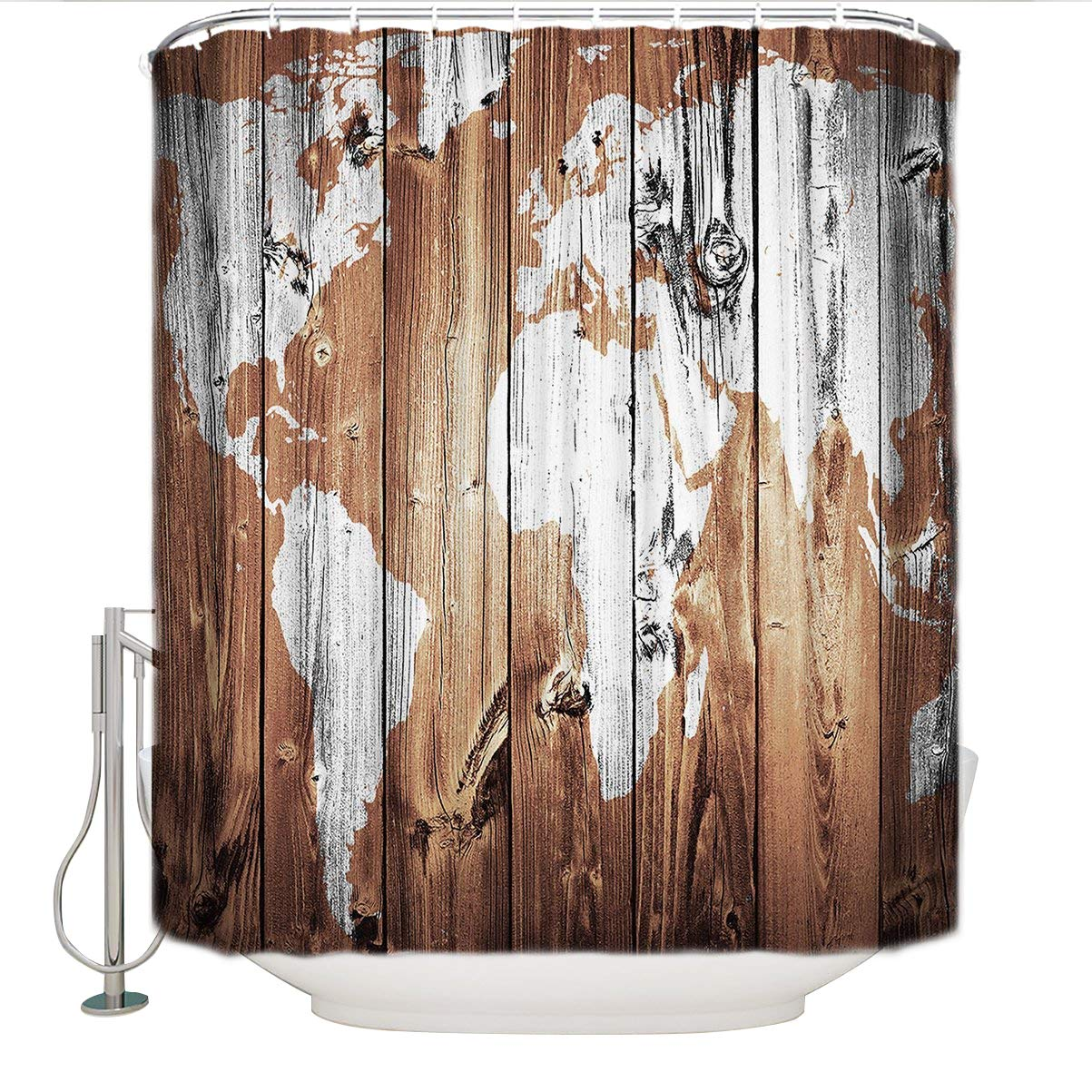 Cloud Dream World Map Rustic Wood-shower curtain-Waterproof Polyester Fabric Bathroom Decoration with Hooks
