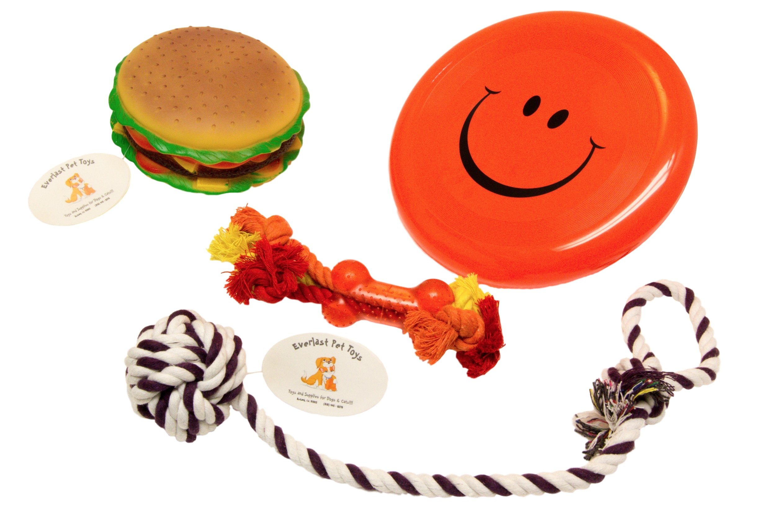 Everlast Pet Toys | Chew Squeak & Rope Bundle Dogs | 'Fat' Cheeseburger | 'Smiley Face' Flying Disc | Guaranteed | Teether Bone Rope | Knotted Ball Loop Puller Seller