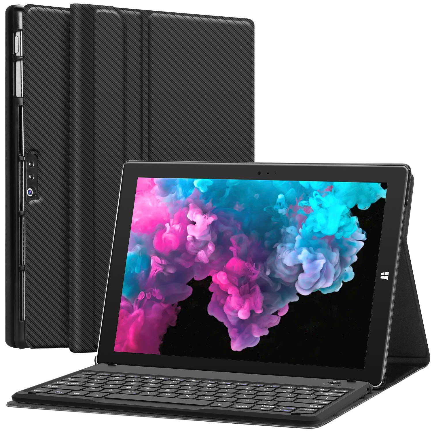 Microsoft Surface Pro 6 Case with Keyboard for Microsoft Surface Pro 6/ Surface Pro 5 2017/ Surface Pro 4 12.3 inch Tablet - Folio Stand Case - Detachable Wireless Type Cover Keyboard - Black