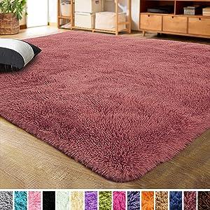 LOCHAS Ultra Soft Indoor Modern Area Rugs Fluffy Living Room Carpets for Children Bedroom Home Decor Nursery Rug 4x5.3 Feet, Blush