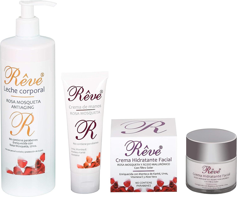 REVE Pack 3 Productos Linea Rosa Mosqueta (1 Crema Hidratante Facial 50 ml + 1 Leche Corporal 500 ml + 1 Crema de Manos 75 ml): Amazon.es: Belleza