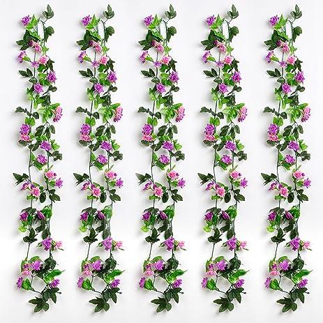 Amazon yiliyajia artificial rose vine garlandssilk flowers yiliyajia artificial rose vine garlandssilk flowers flora green leaf garlandshome decor wedding mightylinksfo